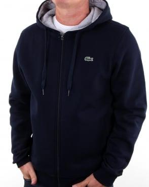 Lacoste Hooded Full Zip Sweatshirt Navy/silver Chine