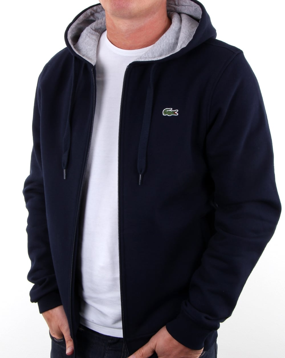 3d0c264ac21fb Lacoste Classic Full Zip Cotton Fleece Hooded Sweatshirt - BCD Tofu ...