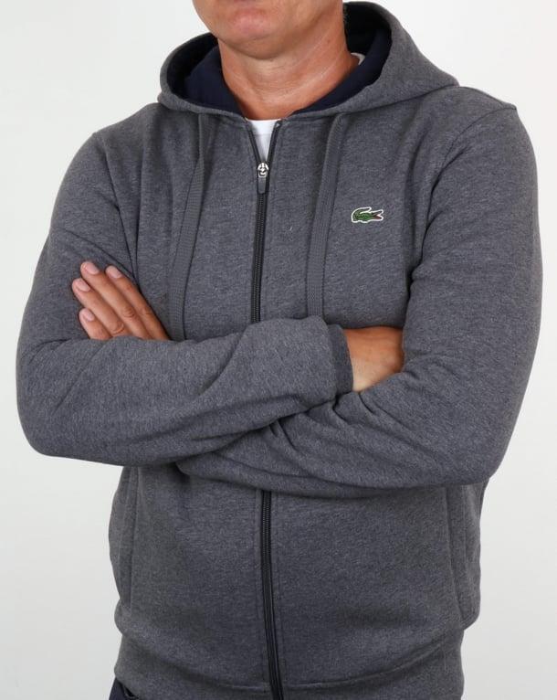 Lacoste Full Zip Fleece Hoody - Charcoal