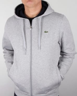 Lacoste Hooded Full Zip Sweatshirt Silver Chine/navy
