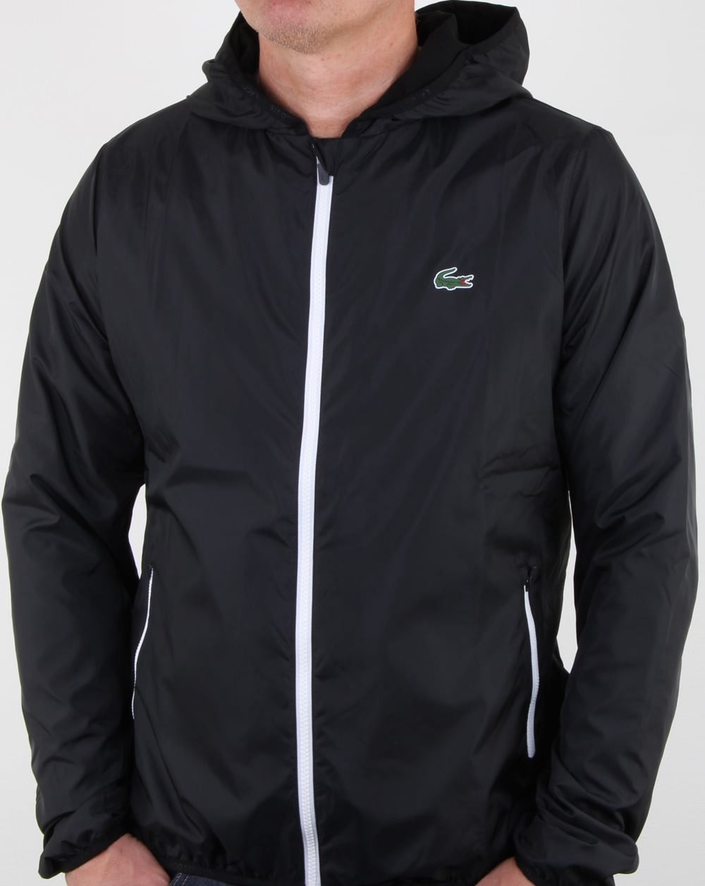 cfbdc1a2c Lacoste Hooded Jacket Black/white