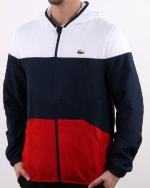 Lacoste Hooded Jacket White/navy/red