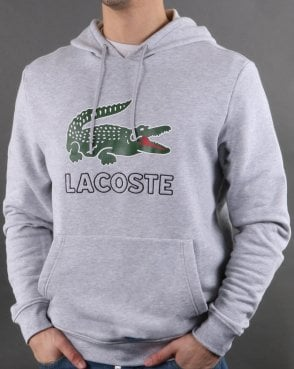 Lacoste Hooded Logo Sweatshirt Silver Chine