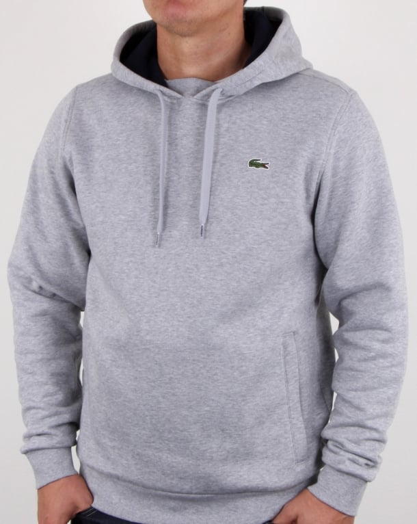 Lacoste Hooded Overhead Sweat Silver Chine/navy