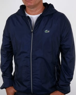 Lacoste Hooded Shimmer Jacket Navy