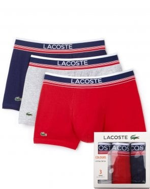 Lacoste Lacoste Triple Pack Boxers Grey/red/navy