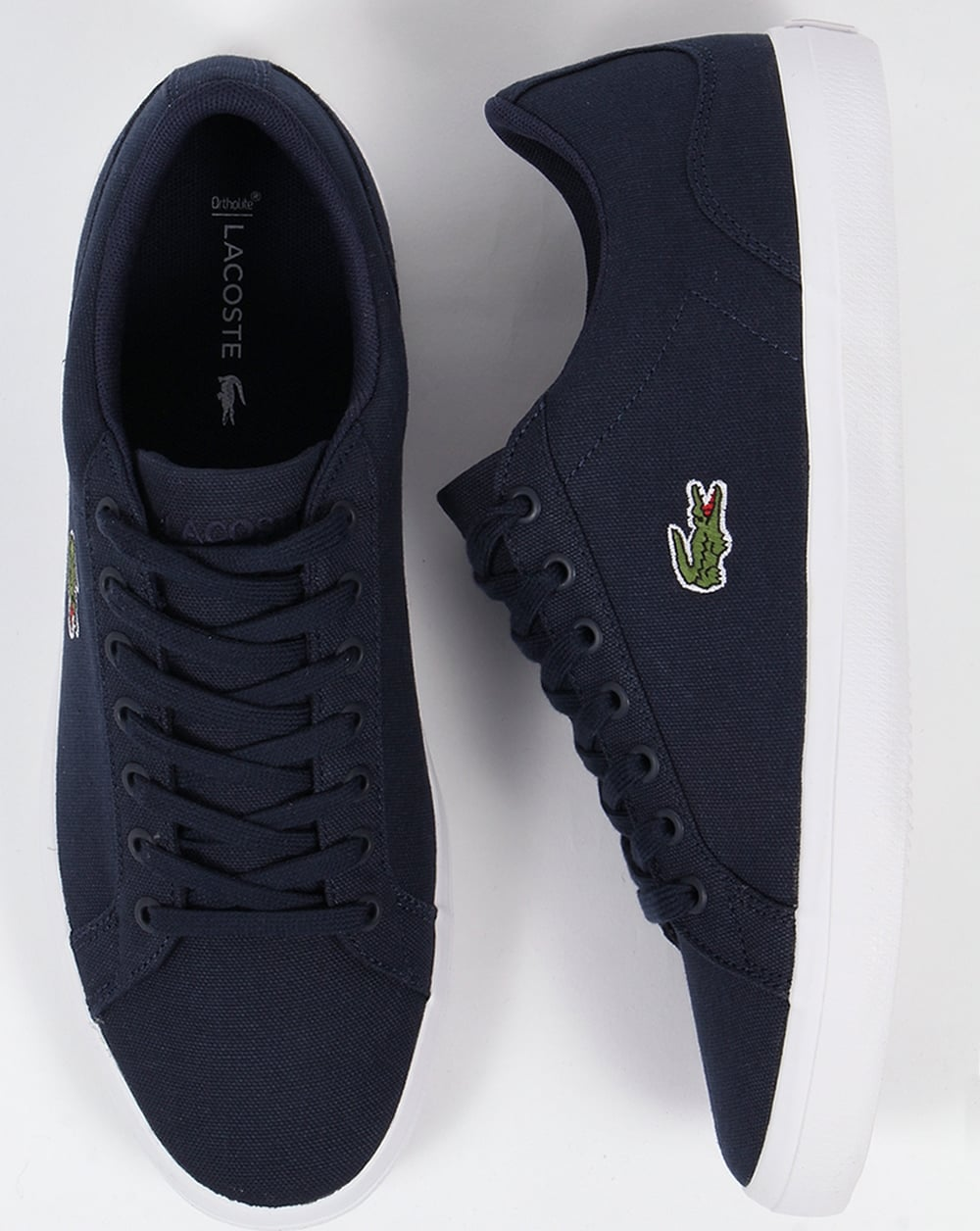 8fc3d5a99345 Lacoste Lerond Canvas Trainers Navy