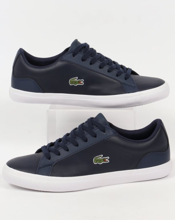 Lacoste Lerond Leather Trainers Navy