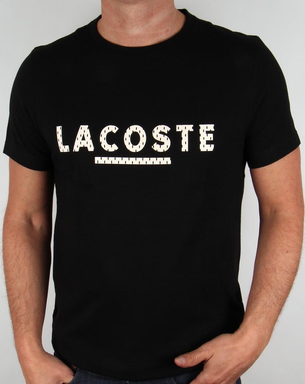 lacoste lettering logo t shirt black mens tee crew neck. Black Bedroom Furniture Sets. Home Design Ideas
