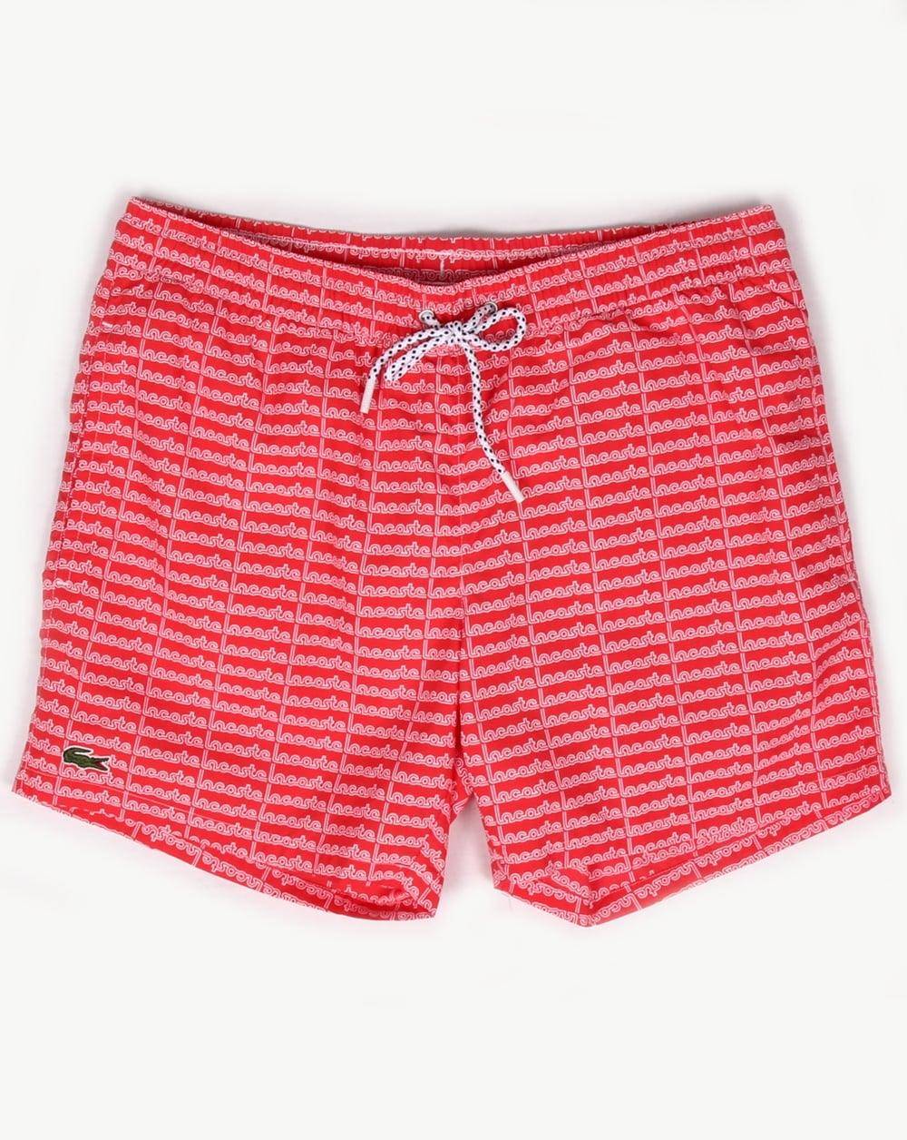 cb4fa7a014 Lacoste Linear Logo Swim Shorts Grenadine, Men's, Swimmers,Pool,Trunks