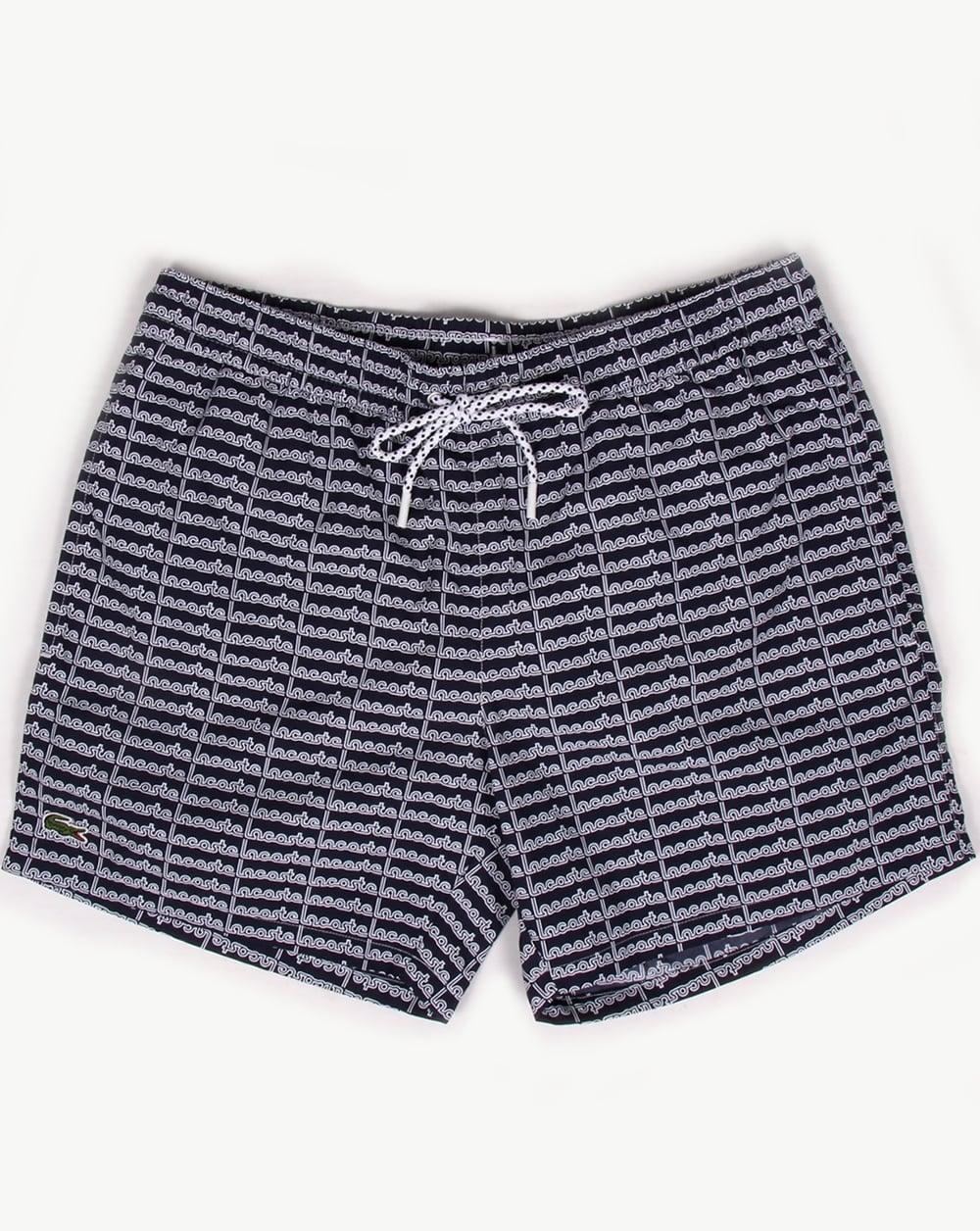 b92e2da5cc0ed Lacoste Linear Logo Swim Shorts Navy, Men's, Swimmers, Pool, Trunks