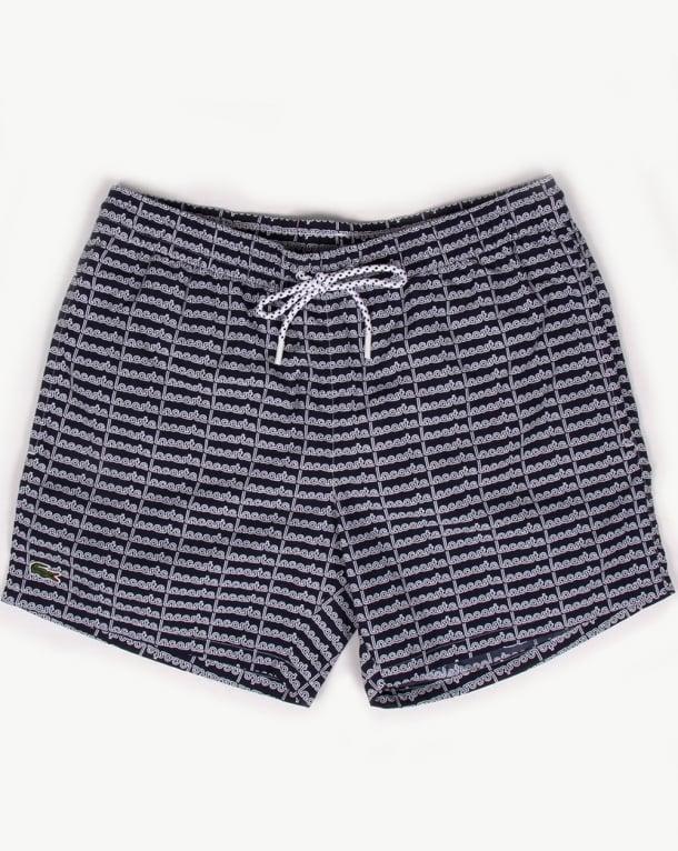 Lacoste Linear Logo Swim Shorts Navy