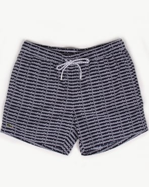 Lacoste Linear Logo Swim Shorts Navy