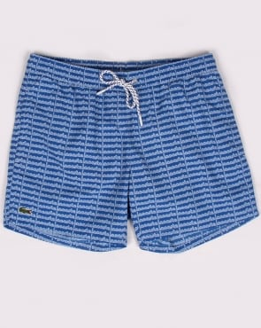 Lacoste Linear Logo Swim Shorts Thermal Blue