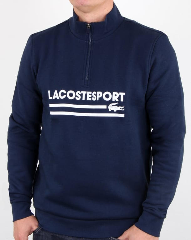 Lacoste Logo Half Zip Sweat Navy/white