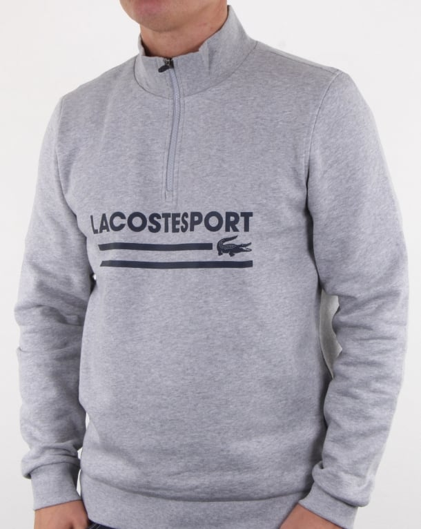 Lacoste Logo Half Zip Sweat Silver Chine/navy