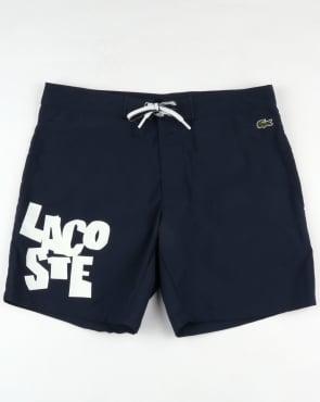 Lacoste Logo Lettering Swim Shorts Navy