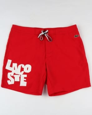 Lacoste Logo Lettering Swim Shorts Red