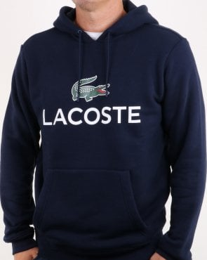 Lacoste Logo Overhead Hooded Top Navy