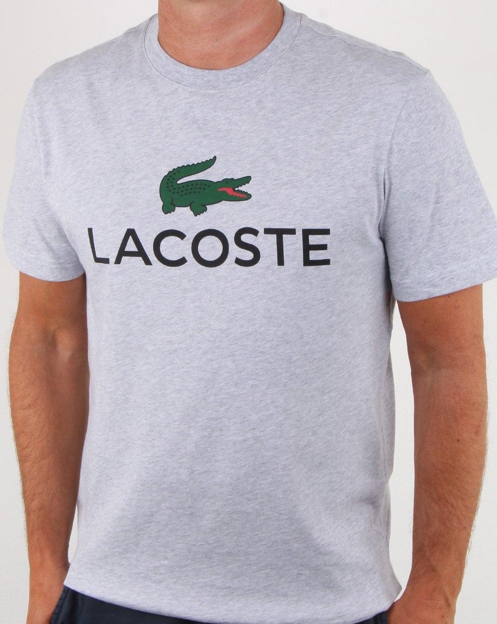 5cfa23551 Lacoste Logo T-shirt Silver Chine, Mens, Tee, Croc, Smart, Cotton,Crew