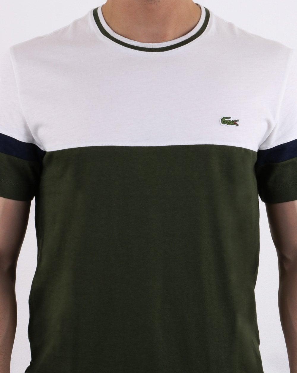 74237b0b Lacoste Logo T Shirt White, Olive, Navy | 80s Casual Classics