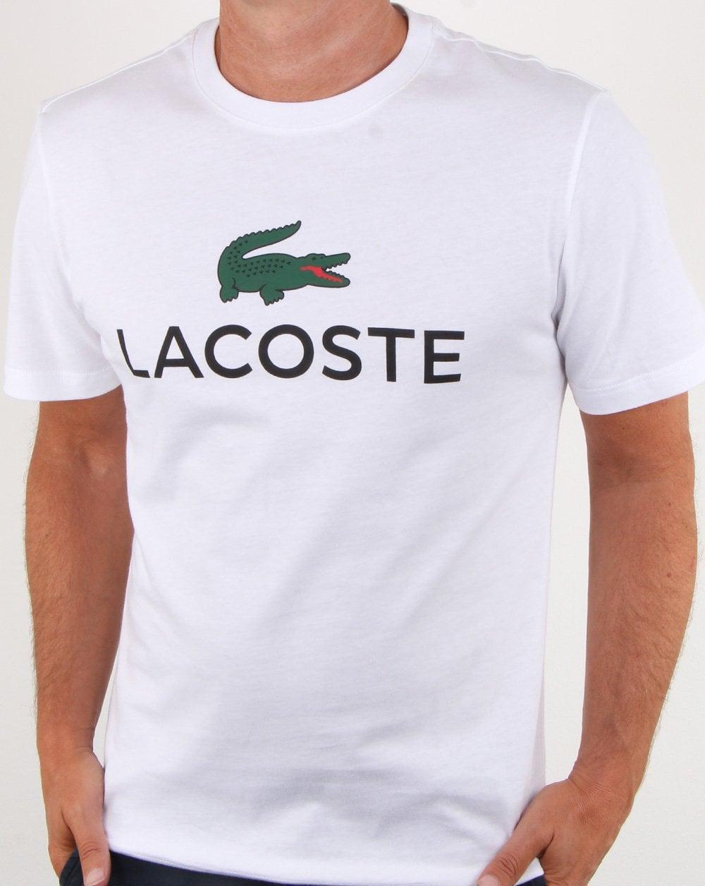 c4eb4d50 Lacoste Logo T-shirt White, Mens, T-Shirt, Croc, Cotton, Crew, Smart
