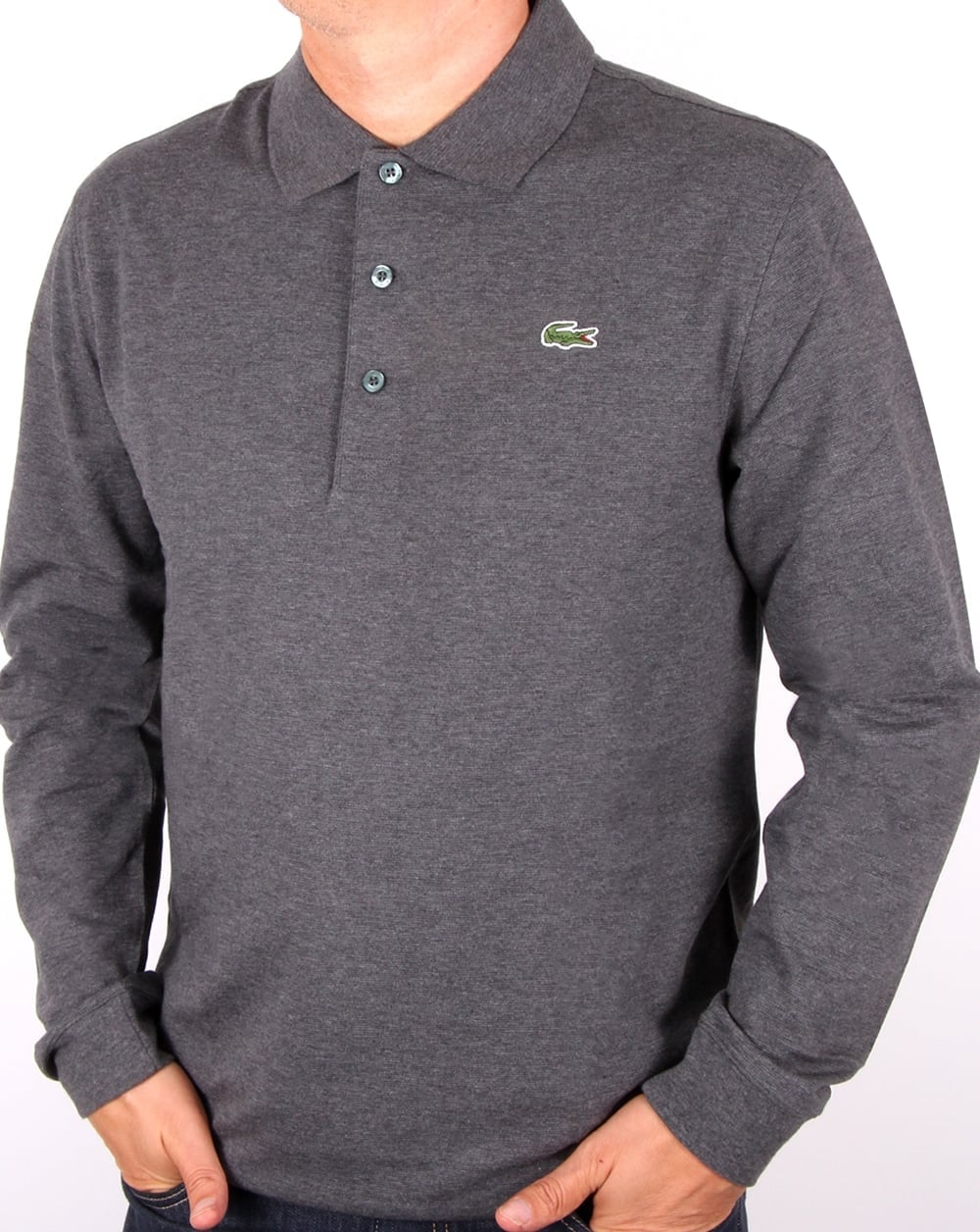 cd35f3013af Lacoste Lacoste Long Sleeve Polo Dark Grey
