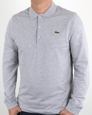 Lacoste Long Sleeve Polo Shirt Silver Chine