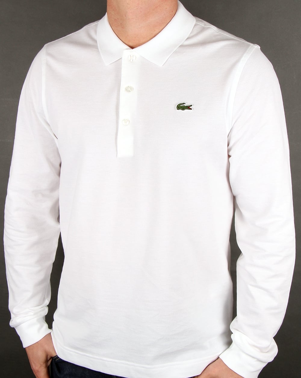 home polo shirts lacoste lacoste long sleeve polo white. Black Bedroom Furniture Sets. Home Design Ideas