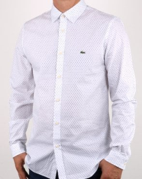 Lacoste Long Sleeve Shirt White/blue