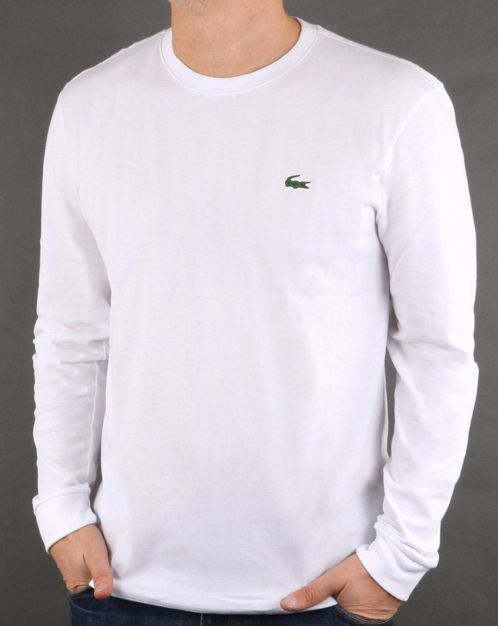 7ba704219284 Lacoste Long Sleeve T-shirt White, Mens, Tee, Smart, Cotton, Crew Neck