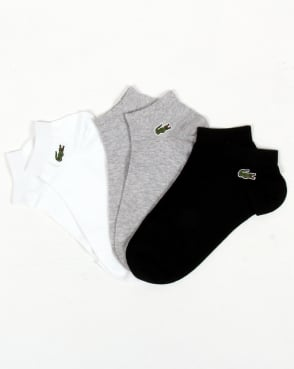 Lacoste Low Cut Socks 3 Pack White/grey/black