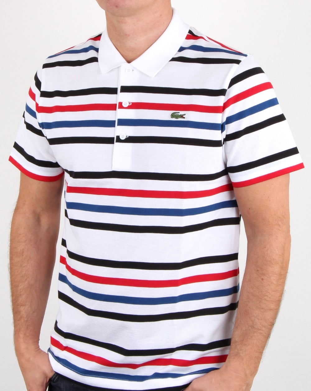 Lacoste multi stripe polo shirt white black red mens for Red white striped polo shirt