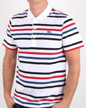 Lacoste Multi Stripe Polo Shirt White/black/red