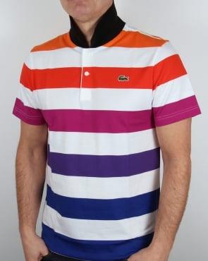 Lacoste Multi Stripe Polo Shirt White/Cantaloupe