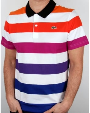 Lacoste Multi Stripe Polo Shirt White/mixed
