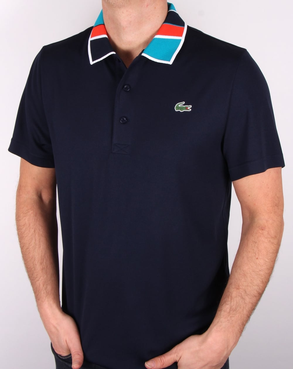 b90b6012 Lacoste Lacoste Patterned Collar Polo Shirt Navy/etna Red