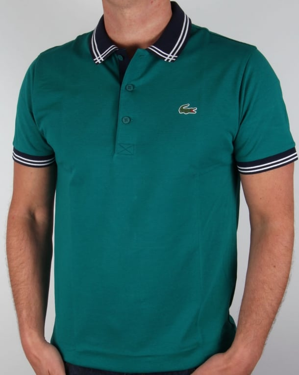 Lacoste Piping Collar Golf Polo Shirt Duck Green/Navy
