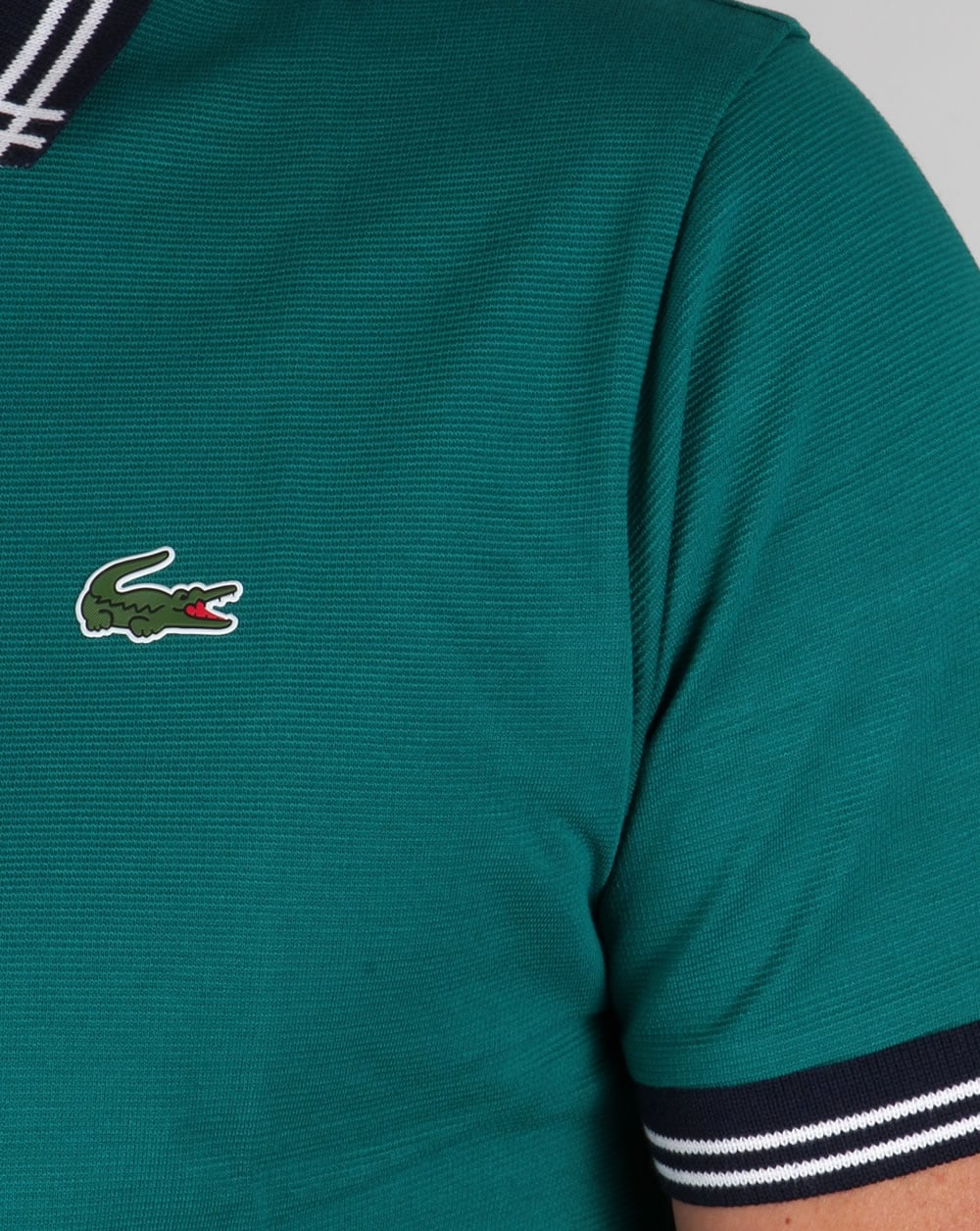 lacoste piping collar golf polo shirt duck greennavy