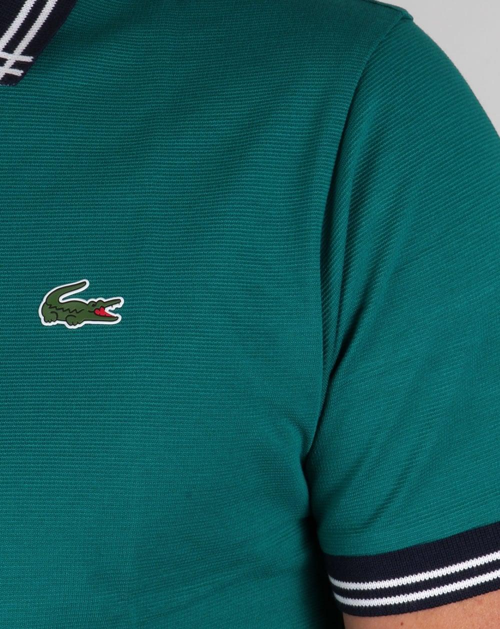 Lacoste Piping Collar Golf Polo Shirt Duck Greennavy