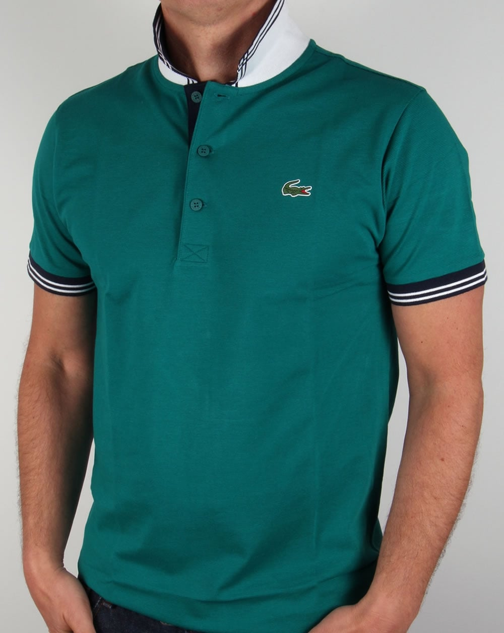 lacoste piping collar golf polo shirt duck green navy. Black Bedroom Furniture Sets. Home Design Ideas