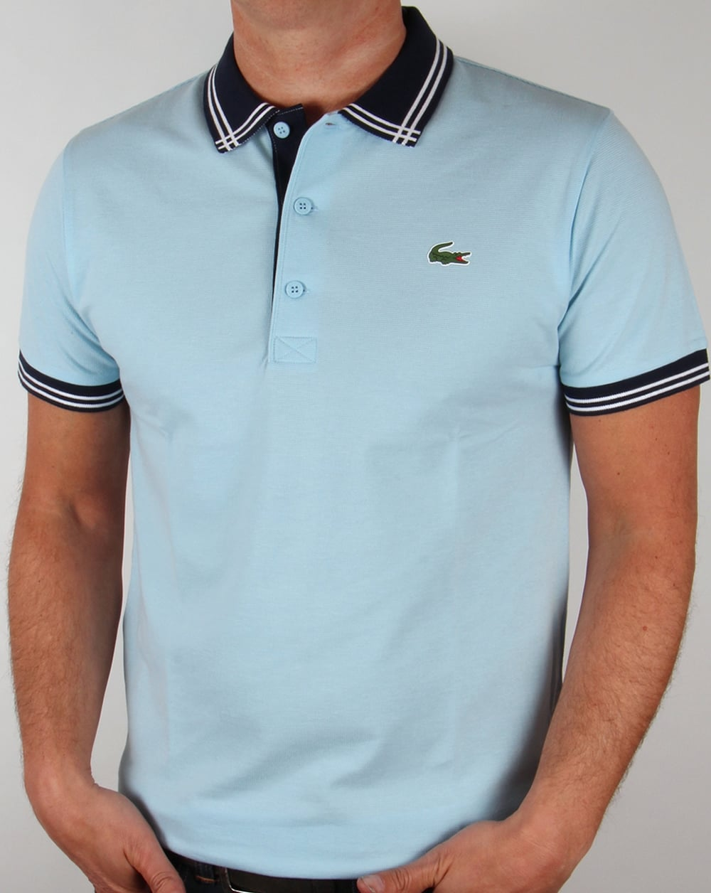 lacoste piping collar golf polo shirt sky blue navy mens