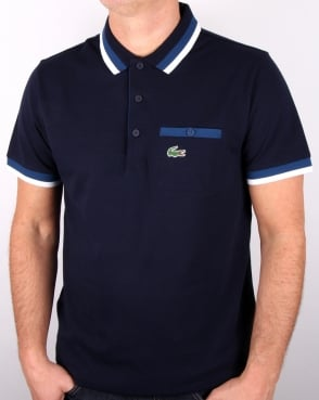 Lacoste Pocket Detail Polo Shirt Navy/cobalt