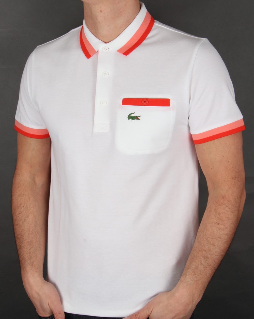 eb752dfe Lacoste Pocket Detail Polo Shirt White/Red