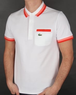 Lacoste Pocket Detail Polo Shirt White/Red