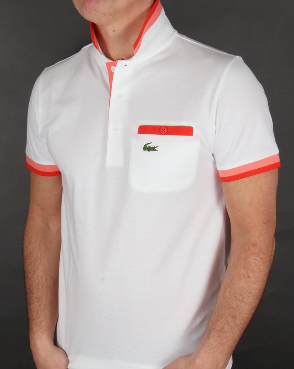 Lacoste pocket detail polo shirt white red men 39 s for Lacoste poloshirt weiay