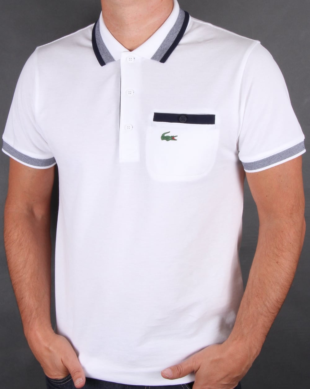 lacoste pocket polo shirt white navy 80s casual classics. Black Bedroom Furniture Sets. Home Design Ideas