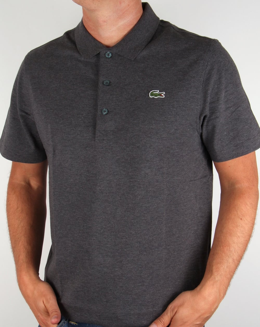 lacoste polo shirt dark grey short sleeve sport