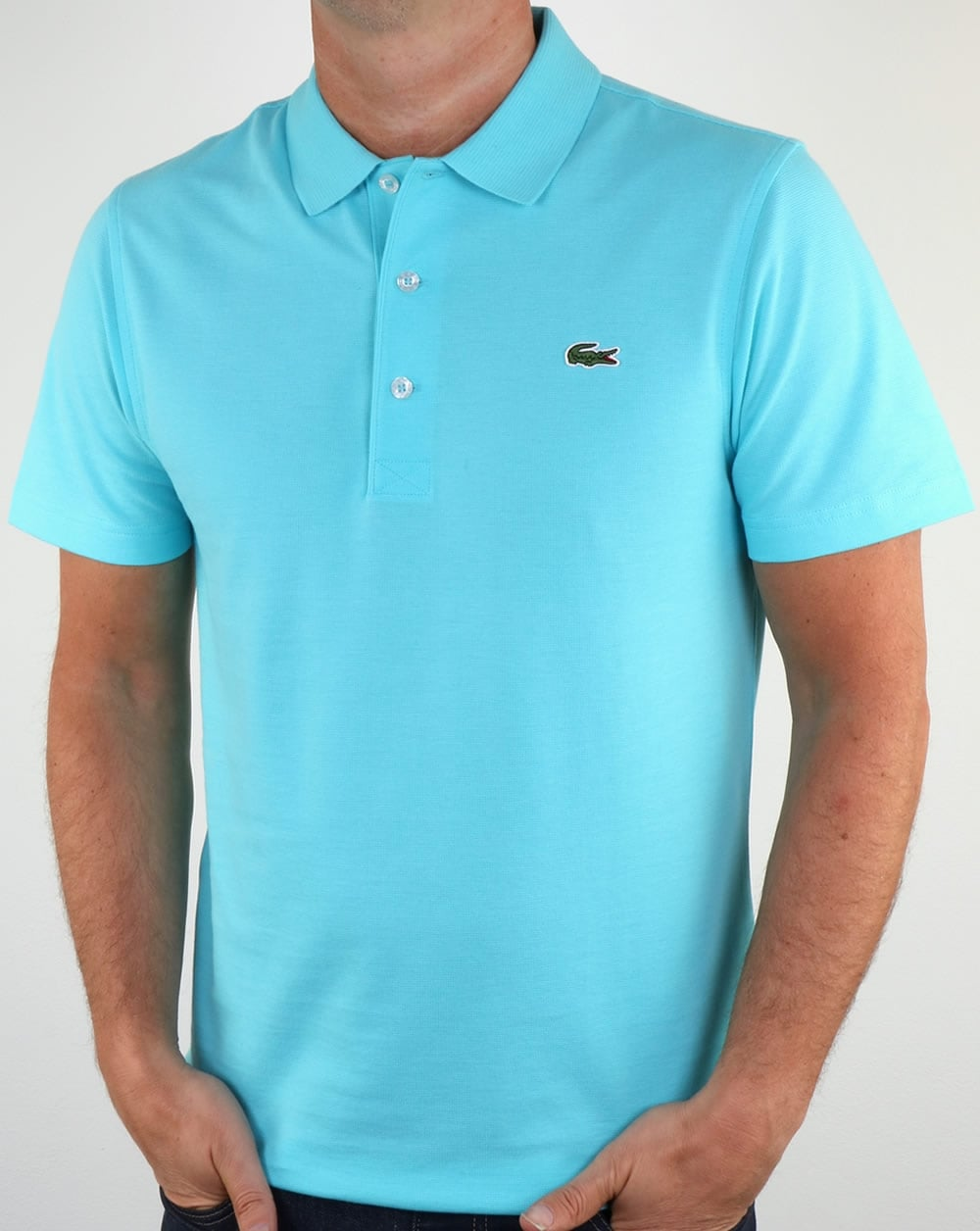 Lacoste ultra lightweight knit polo shirt haiti blue men 39 s for Order company polo shirts