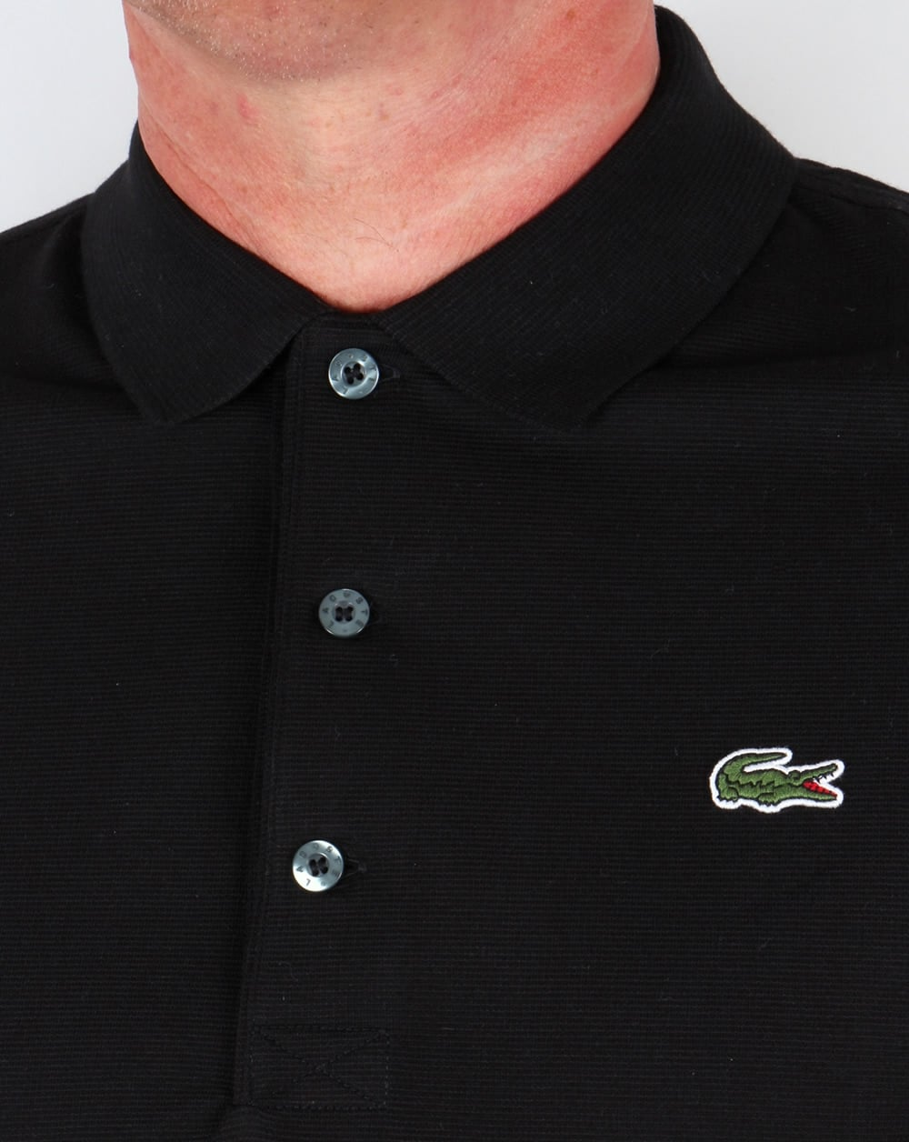 Lacoste Ultra Lightweight Knit Polo Shirt Black 80s Casual Classics